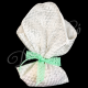Μπομπονιέρα λινη με δαντελα ασημι